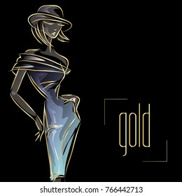 Gold neon fashion woman silhouette, beautiful fashion model on black background logo vector illustration art