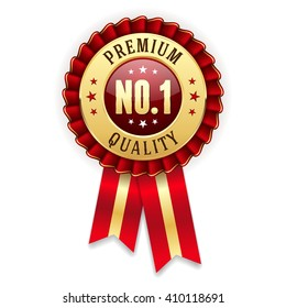 Gold no. 1 premium quality badge / rosette with red ribbon