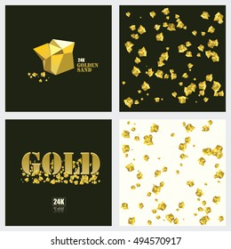 Gold nugget. Yellow metal. Golden sand particles. Vector illustration