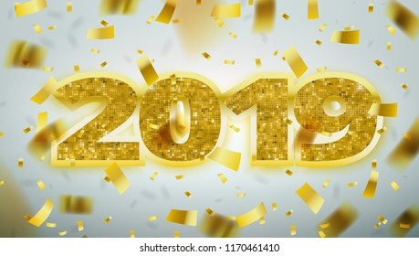 Gold Numbers 2019. Happy New Year Greeting Card Banner Template. EPS10 Vector
