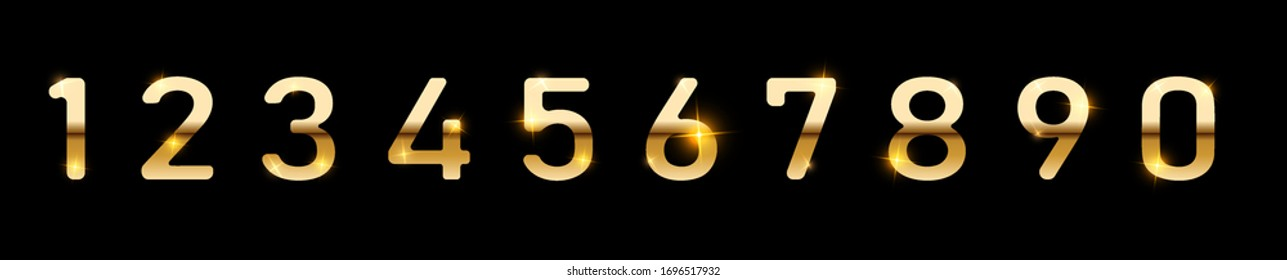 Gold numbers set. Golden metallic font, isolated on black background. Luxury typography  design for decoration. Vector illustration