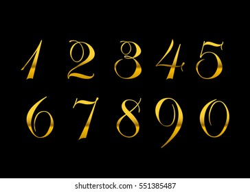 Golden Metallic Font Isolated On Black Background Beautiful Typography Metal