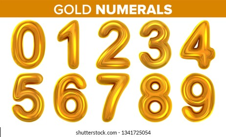 Gold Numerals Set Vector. Golden Yellow Metal Letter. Number 0 1 2 3 4 5 6 7 8 9. Alphabet Font. Typography Design Element. Party Background. Foil Symbol. Bright Metallic 3D Realistic Illustration
