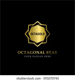 Gold Octagonal Star Logo Vector in elegant Style with Black Background