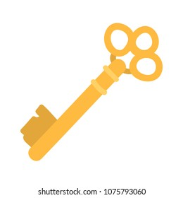 Gold old key. Cartoon clip art illustration on white background.