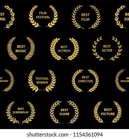 Gold on black film award wreaths. Seamless pattern. Vector illustration.