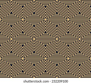 gold on black seamless geometric pattern, based on triangle forms in art deco style