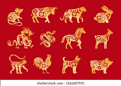 Gold on red chinese horoscope. Vector chinese animals zodiac, china calandar signs set, astrological oriental zodiacal symbols vector illustration
