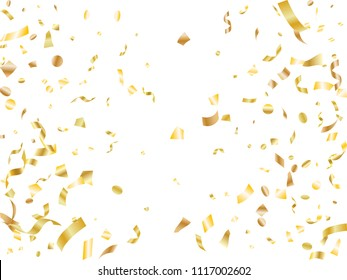 Gold on white glowing holiday realistic confetti flying vector background. Creative flying tinsels, foil texture serpentine streamers, sparkles, confetti falling party background.