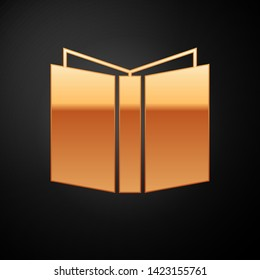 Gold Open book icon isolated on black background.  Vector Illustration