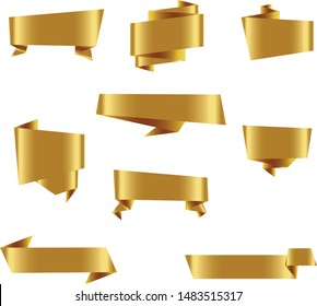 Gold Origami Ribbon Set InIsolated For Celebration And Winner Award Banner White Background, Vector Illustration can use for anniversary, birthday, party, event, holiday, Ied mubarak And religious day