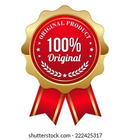 Gold original product badge with red ribbon on white background