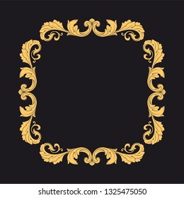 Gold ornament baroque style. Retro rococo decoration element with flourishes calligraphic. You can use for wedding decoration of greeting card and laser cutting