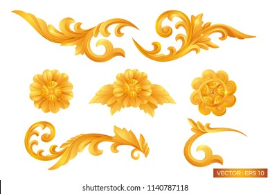 gold ornament design. pattern of gold frame carved flower isolated on white background. Traditional Thai style pattern decorative