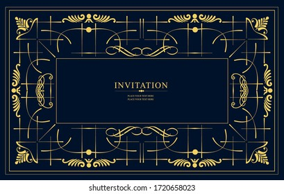Gold ornament on brown background. Can be used as invitation card. Vector illustration