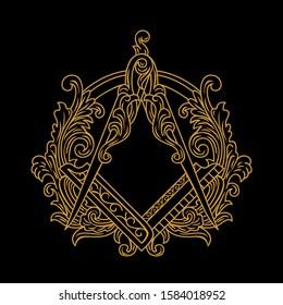 Gold Ornamental Freemason Square And Compass Symbol vector illustrations