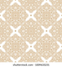 Gold ornamental seamless pattern. Vintage, paisley elements. Ornament. Traditional, Ethnic, Turkish, Indian motifs. Great for fabric and textile, wallpaper, packaging or any desired idea