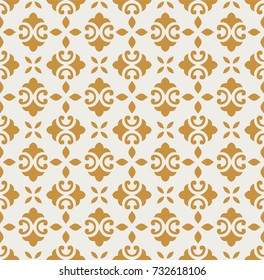 Gold Ornamental tiles seamless vector pattern. Abstract arabesque background.