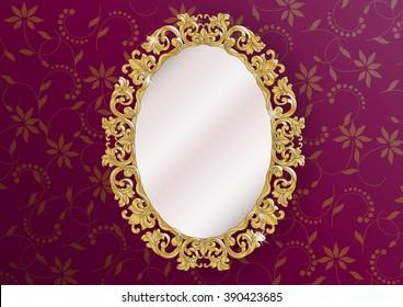 gold ornate vintage mirror - vector illustration