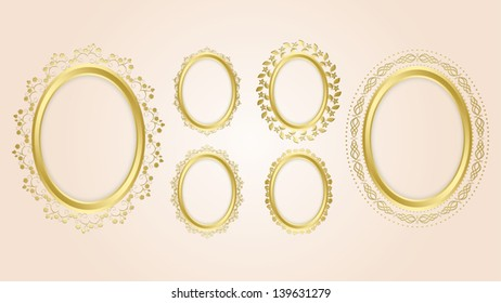 gold oval decorative frames - vector set. Eps 10. Oval shadow is transparent.