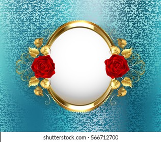 Gold oval frame with red roses on turquoise, brocade background.
