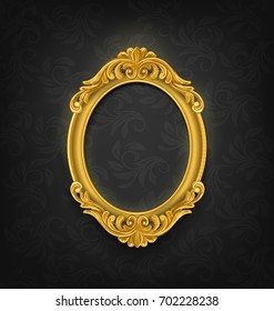 gold oval vintage picture frame on black vintage wall
