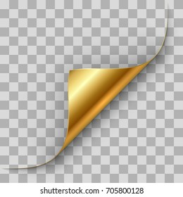 Gold page corner curl vector template.