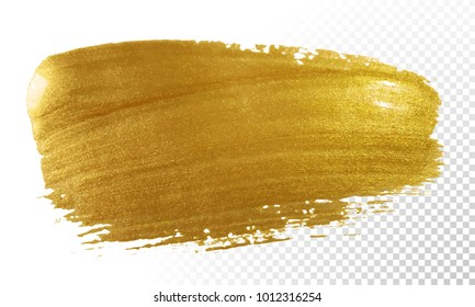 Gold paint brush vector smear stroke. Acrylic golden color stain on transparent background. Abstract vector gold glittering textured background for invitation, wedding or bithday card template