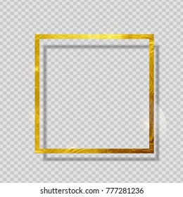Gold Paint Glittering Textured Frame on Transparent Background. Vector Illustration EPS10