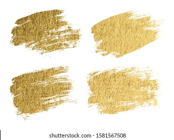 Gold paint smear stroke stain set. Abstract gold glitter texture art illustration. Vector
