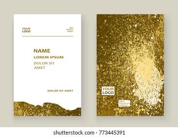 Gold paint splash, splatter explosion glitter artistic frame covers design. Decorative christmas texture Spray granite golden yellow white backgrounds. Trendy template vector for flyer, banner
