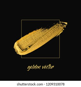 Gold paint stroke isolated on black background vector