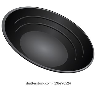 Gold Pan Plastits for manual extraction of gold. Vector illustration.
