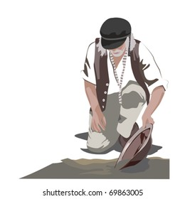 Gold Panning Man Illustration
