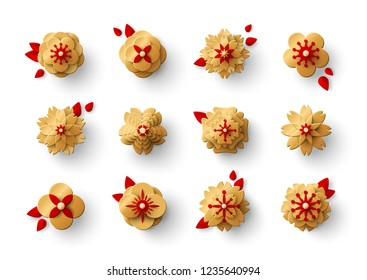Gold paper cut flowers with red leaves. Vector illustration.