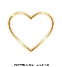 Gold paper heart  isolated on white background. Vector illustration.