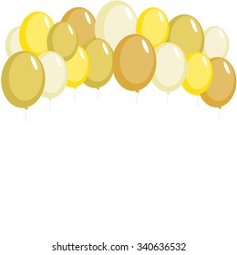 Gold party balloons card
