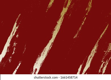 Gold patina effect grunge paint texture. Golden trendy chic background. Vintage abstract elegance stylish distress design element. Creative bright color brush stroke grainy backdrop. EPS10 vector.