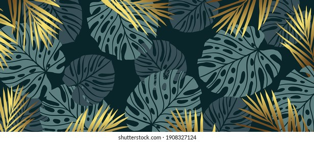 Gold pattern background vector. Monstera and tropical palm leaves line arts design wallpaper for canvas prints, fabric, wall arts for home decoration, website background. luxury  invitations.