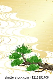 Gold pattern and branches of pine tree Japanese style background material