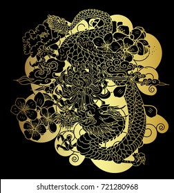 Gold pattern the dragon with tiger roaring and cherry flower.Tiger and dragon with lotus flower and peony flower on black background.