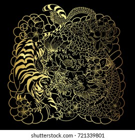 Gold pattern the dragon with tiger roaring and cherry flower.Gold Tiger and Gold dragon with lotus flower and peony flower on black background.