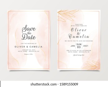 Gold peach watercolor wedding invitation card template set with line decoration. Abstract background save the date, invitation, greeting card, multi-purpose vector