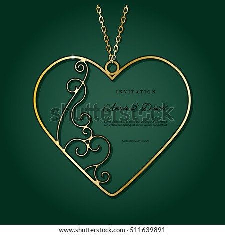 Gold Pendant Shape Heart Valentines Day Stock Vector Royalty Free