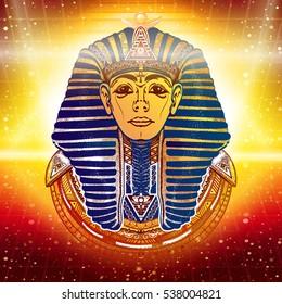 Gold Pharaoh, ancient Egypt, esoteric background. Tutankhamen golden mask