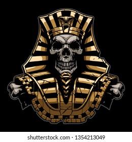 Gold Pharaoh Skull