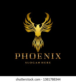 Gold Phoenix eagle Fire Template Design for Game, team, Military, Company and other