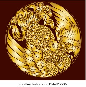 Gold Phoenix fire bird vector and illustration design for tattoo.Chinese Peacock in circle Silhouette and isolate on red background.Gold phoenix bird vector.