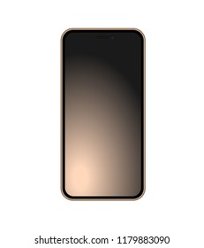 Gold phone template isolated with beautiful gradient screen. Vector quality illustration.