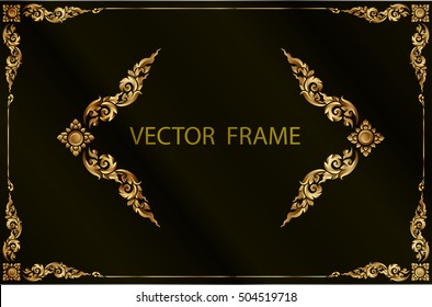 Gold photo frame with corner line floral for picture, Vector frame border design decoration pattern style. Thai art golden metal beautiful corner.